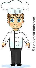 kok, schattig, spotprent, jongen