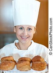 kok, scones, het charmeren, bakken, jonge