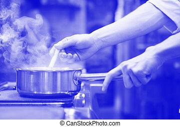 kok, smażenie, kuchnia, mistrz kucharski, unrecognizable, przygotowując, rondel, jadło