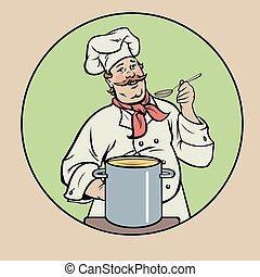 kok, soep, het glimlachen
