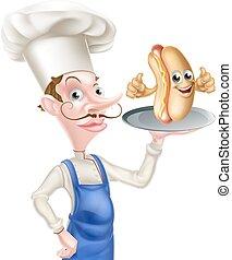 kok, spotprent, hotdog, op, duimen