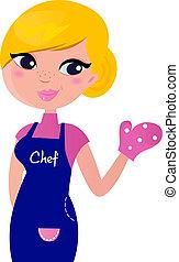 kok, vrouw, bereid, voor, het koken, vrijstaand, op wit
