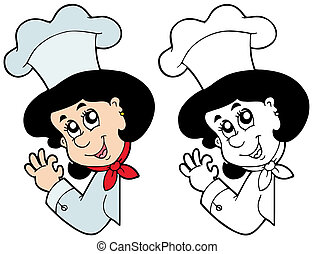 kok, vrouw, zich het verschuilen