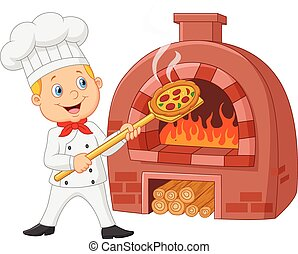 kok, warme, spotprent, het houden pizza
