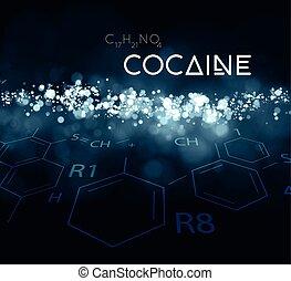 kokain, pulver, mit, der, chemische , formula.