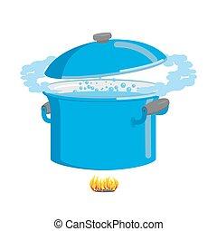 kokende pot, het koken, cookware, water.