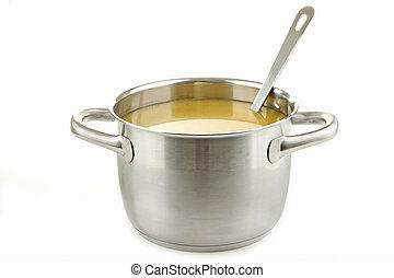 kokende pot, van, soep