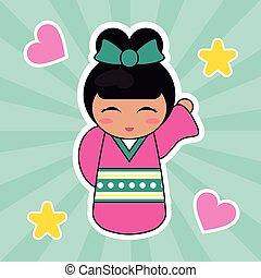 kokeshi doll cute hearts background vector illustration eps...