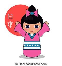 kokeshi doll decorative image vector illustration eps 10