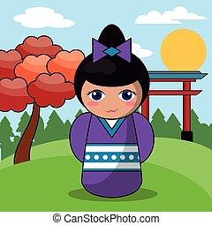 kokeshi doll japanese landscape image vector illustration...