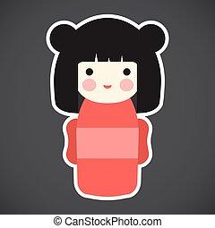 Kokeshi doll vector flat icon