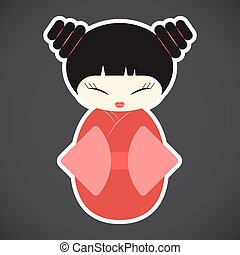 Kokeshi doll vector flat icon