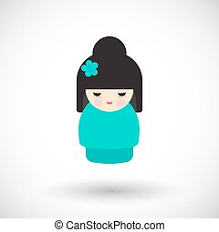 Kokeshi doll vector icon