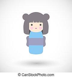 Kokeshi doll vector icon - Kokeshi doll icon. Flat design of...