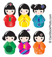 Kokeshi dolls in various designs isolated on white. EPS10 ...
