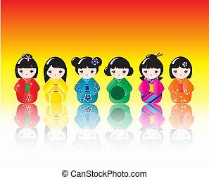Kokeshi dolls reflected - A row of brigtly colured Kokeshi...