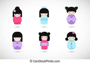 Kokeshi dolls vector flat icon set