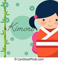 kokeshi japanese national doll in a colored kimono vector...