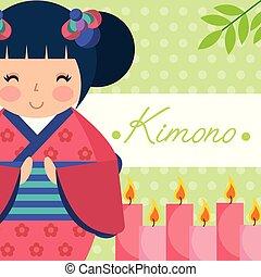kokeshi japanese national doll in a floral kimono vector...