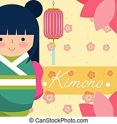 kokeshi japanese national doll in a green kimono vector...