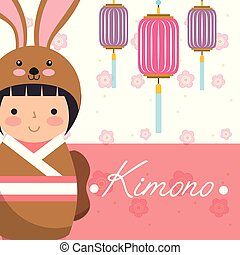 kokeshi japanese national doll in a kimono animal costume...