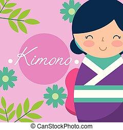 kokeshi japanese national doll in a purple kimono vector...