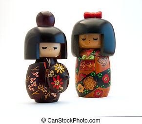 kokeshi, japonés, muñecas