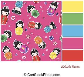 Kokeshi Palette - A seamless background of Japanese Kokeshi...