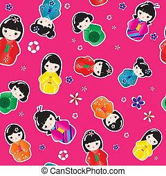 kokeshi, seamless, poupées