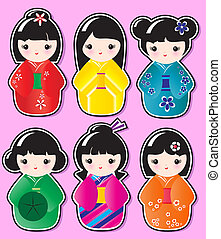 Kokeshi stickers - Kokeshi doll stickers in various designs...