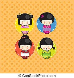 kokeshi, tarjeta, muñecas
