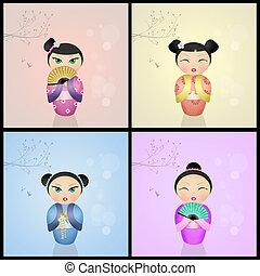 kokeshi, vario, japonés, Muñecas