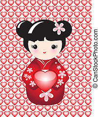 Kokeshi with heart - Kokeshi holding a glossy heart against...