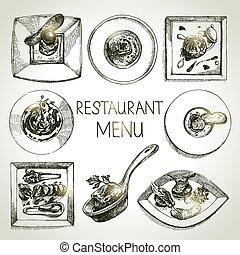 kokkonst, skiss, restaurang, mat, meny, set., hand, oavgjord...