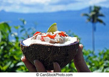 kokoda, jadło, wyspa, przeciw, tropikalny, fidżyjczyk,...