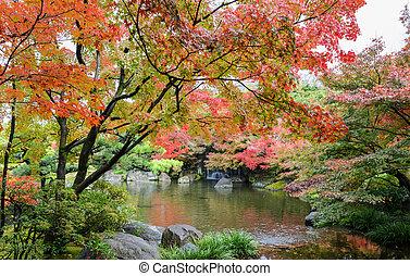 Kokoen, traditional Japanese garden during autumn season in Himeji, Japan