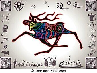 Kokopelli Glow Elk by petroglyph styled old sticker