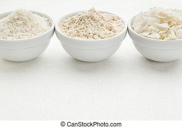 kokosnöt, mjöl, och, flingor