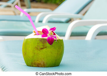 kokosnød, drink, solbad