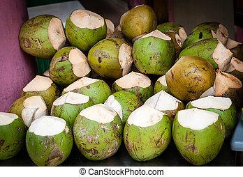 kokosnüsse, auf, verkauf, für, ihr, durst löschen, wasser
