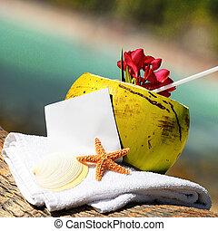 kokosnoten, caribisch strand, cocktail, paradijs