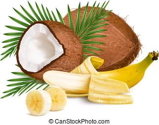 kokosnoten, rijp, gele, bananen