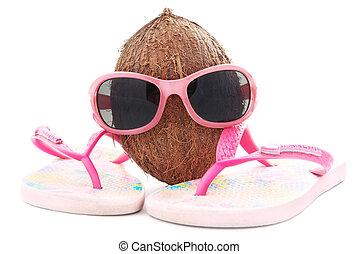 kokosnuss, begriff, sonnenbrille, reisebüro, beachwear,...