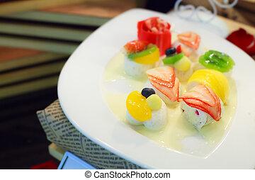 kokosnuss, dessert:, gelee, milch, tropische , tellergericht, fruechte, gemischter, weißes, thailändisch