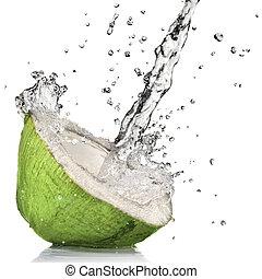 kokosnuss, freigestellt, wasser, spritzen, grün weiß