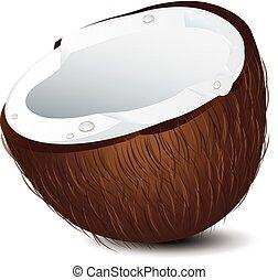 kokosnuss, hälfte