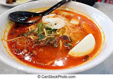 kokosnuss, pikant, milch, lebensmittel, schüssel, meeresfrüchte, malaysier, /, garnele- suppe, nudel, kräuter, gewürz, curry, gemuese