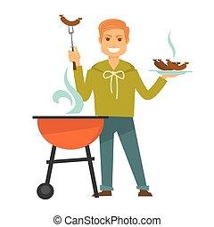 koks, vrijstaand, illustratie, sausages, heerlijk, ...