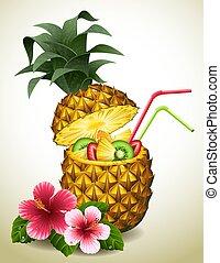 koktél, ananász