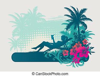 koktél, -, tropikus, vektor, illustartion, leány, ivás, táj
